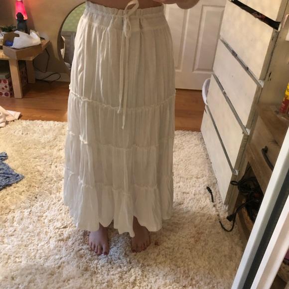 White tiered maxi skirt.